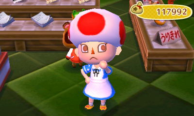Taiga finally got the Toad Hat! Also, the dress is a QR Code from the Dengeki strategy guide.