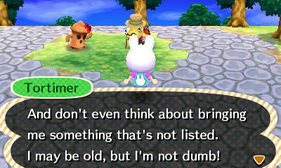 Tortimer warning me not to snatch furnishings not listed for the scavenger hunt