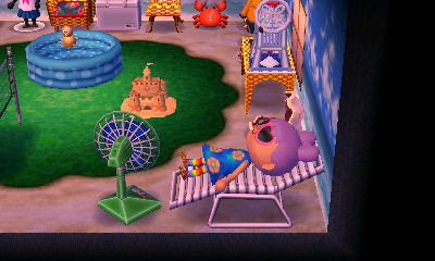 Me in the muumuu with the new sand castle in the beach room. Ahh relaxin'