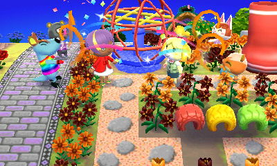 Celebrating the new jungle gym. Hooray! Complete with clashy flowers.