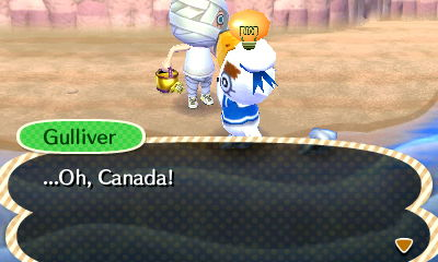 I think he's about to break into the national anthem! Maybe Gulliver is Canadian?