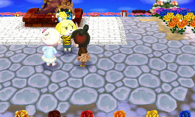 We were yelling at Isabelle because she was only giving visitors blue hats