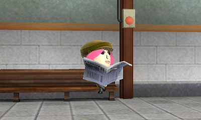 Momo Pink watching from behind a newspaper.