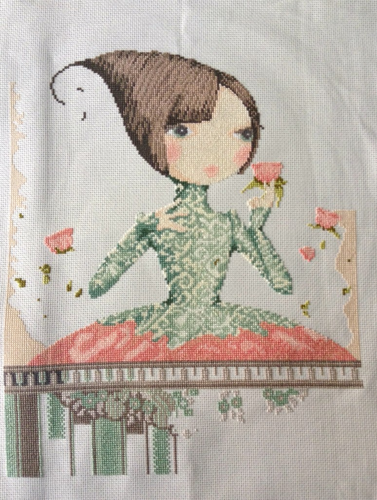 """The entire cross stitch of """"If Only"""" to date."""