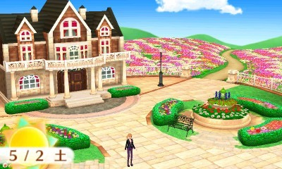 Snap an overview pic of the mansion in the flower garden.