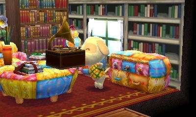 The victrola was one of the items Goldie wanted in her room. Here she is rocking out to it.